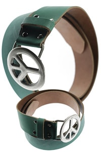Leather belt Peace buckle green