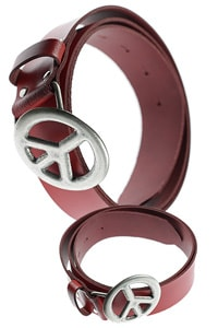 70s leather belt red Peace buckle