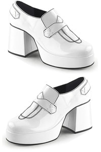 70s retro platform loafer shiny white