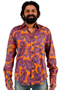 Oranges 70ger Hemd buntes Paisley Muster L
