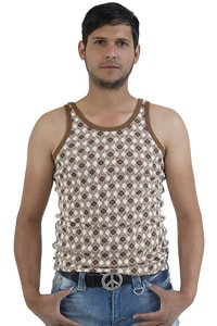 Seventies retro look tank top brown