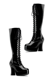 70s platform lace up boots shiny black