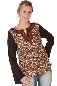 Paisley pattern tunic brown multi colored