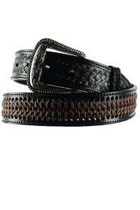 70s western ethno look belt leather black