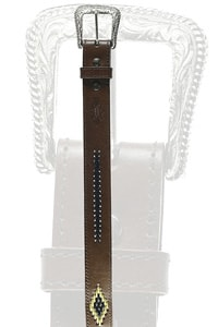 Ethno western leather lacing belt brown
