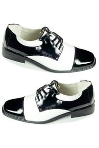 Retro look men disco shoe black white M