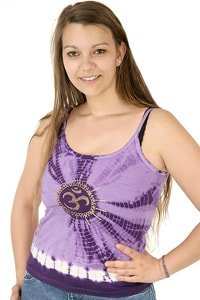 Hippie Look Batik Träger Top Lila One Size