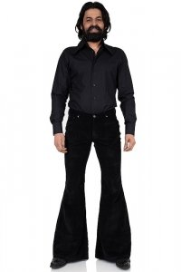 70s men corduroy bell bottom pant black stretch