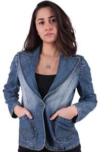 70s girl jeans jacket with big collar