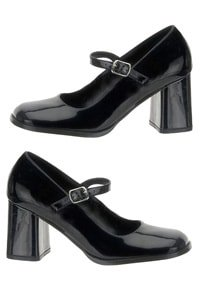 70er Plateau Mary Jane Pumps Schwarz