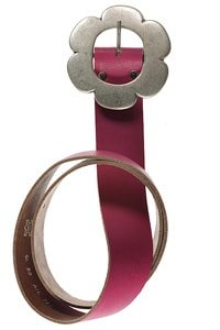 70s leather belt pink flower buckle