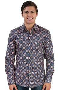 Seventies retro pattern party shirt blue XL