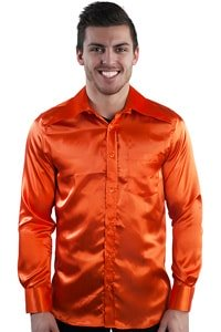 70er Jahre Partyhemd Orange Satin Look