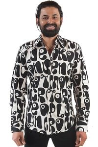 Seventies men party shirt black white hippie style M