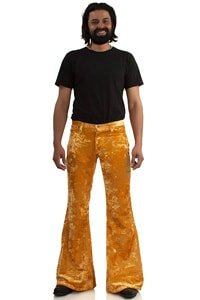 70s velvet bellbottom pant gold coloured