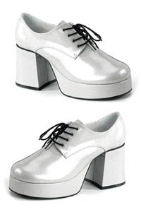 70s platform man party shoe silver colored glitter S