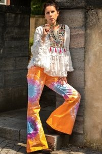 Orange bunte Boho Batik Schlaghose Rainbow