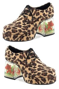 70s platform man shoe cheetah with floating fishes M