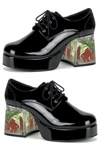 70s platform man shoe black with floating fishes S