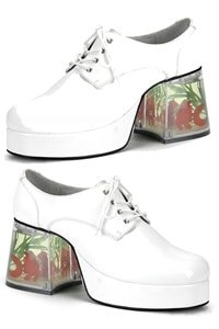 70s platform man shoe white with floating fishes S