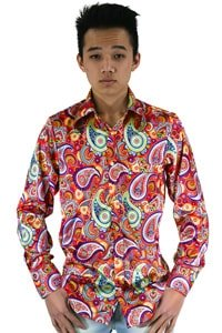 colourful seventies paisley pattern shirt L
