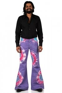 Tie-dyed hippie bellbottom pant Star Rainbow purple
