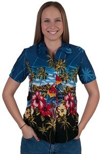 Colourful hawaiian blouse parrots palm trees