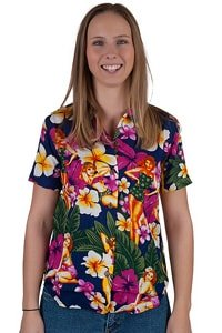 Pin Up Hawaii girl shirt colouful hibiscus flowers