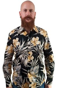 Long sleeved hawaiian shirt black white