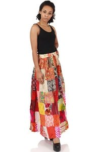 Maxi Rock Patchwork Hippie orange bunt One Size