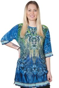 Ethno 70s pattern tunic blue