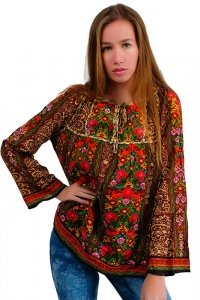 Flower power bohemian style 70s tunic brown multi colored