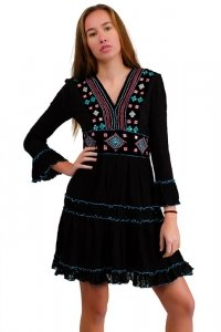 Ibiza boho style 70s mini dress with stitchery