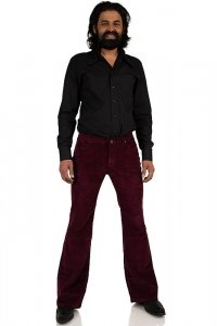 Claret-red men corduroy stretch bootcut pant 36/32