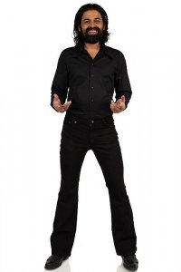 Black bootcut slim fit pant Comycom Star Cut Black One 33/34