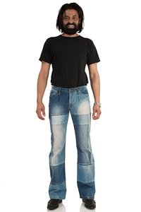 Patchwork man jeans with bootcut flare