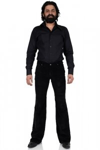 Bootcut retro stretch corduroy pant black