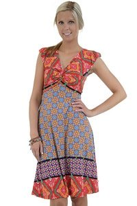 Rot buntes Hippie Retro Look Kleid