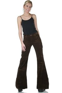 Brown woman low-waist corduroy flared pant