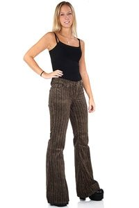 Woman corduroy bellbottom pant brown beige fishbone 33/34