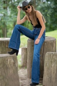 Woman blue jeans with bootcut flare Star Paradise 32/34
