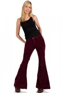 Comycom women bellbottom stretch corduroy pant slim fit bordeaux