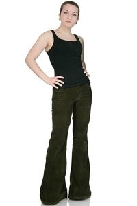 Woman low waist corduroy flared pant dark green 32/34