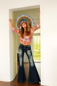 Boho Destroyed Look Schlagjeans superweiter Schlag