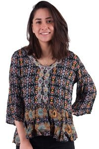 Bohemian ethno look blouse black colourful