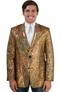 70s glitter look sack coat gold colored