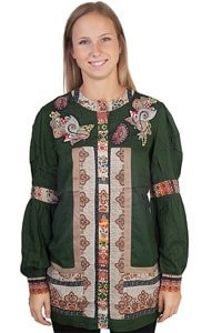 Green Ethno Hippie Look Tunic