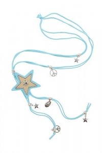 Boho hippie look peace necklace with star light light blue