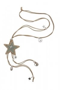 Bohemian hippie look peace necklace with star light light brown