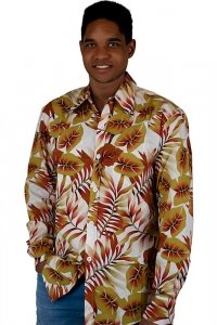 Longsleeved hawaiian shirt 70s style white brown